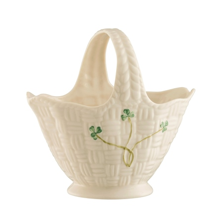 Belleek Classic Shamrock Handled Basket  - Click to view a larger image