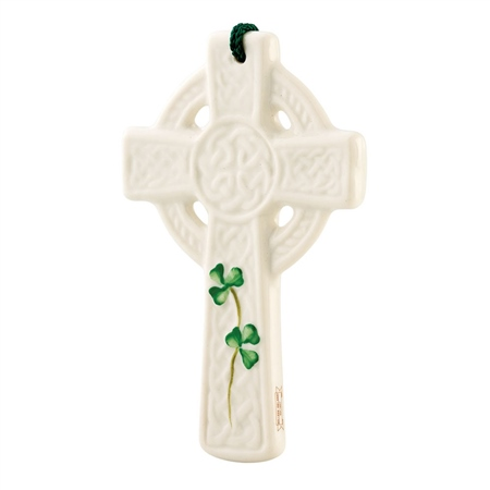 Belleek Classic St Kieran's Celtic Cross Ornament  - Click to view a larger image
