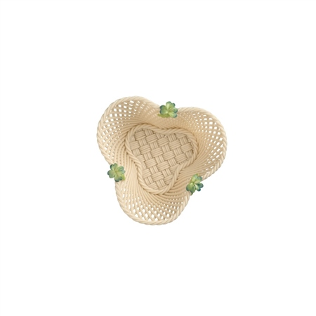Belleek Classic Four Leaf Clover basket  - Click to view a larger image