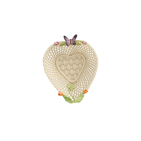 Belleek Classic Rose Bud Heart Basket  - Click to view a larger image