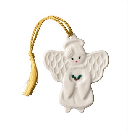 Belleek Classic Angel with Holly Flat Ornament  - Click to view a larger image