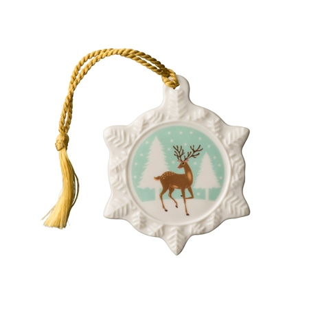 Belleek Classic Reindeer Snowflake Hanging Ornament  - Click to view a larger image