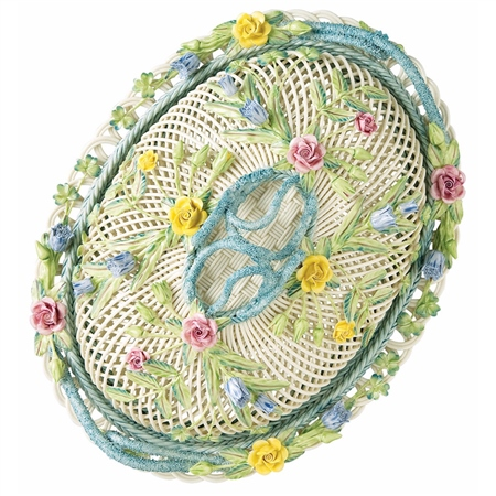 Belleek Classic Masterpiece Collection - Oval Covered Basket  - Click to view a larger image