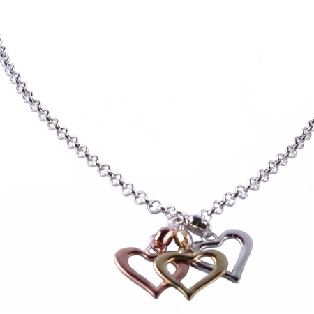 Designer Jewellery Triple Heart Necklace  - Click to view a larger image