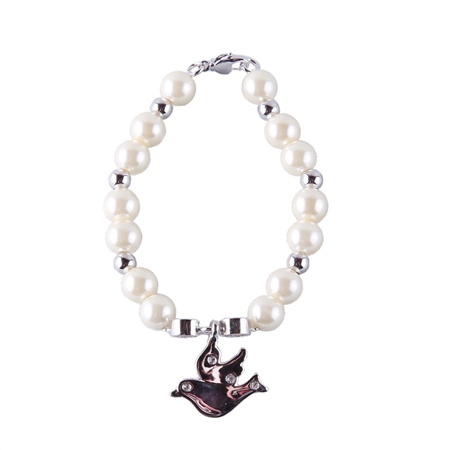 Designer Jewellery Ivory Bead Dove Bracelet  - Click to view a larger image