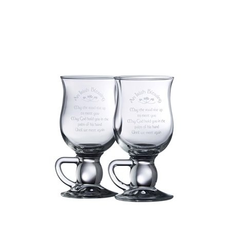 Galway Crystal IRISH BLESSING LATTE PAIR  - Click to view a larger image