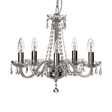 Galway Crystal Cashel 5 Arm Chandelier  - Click to view a larger image