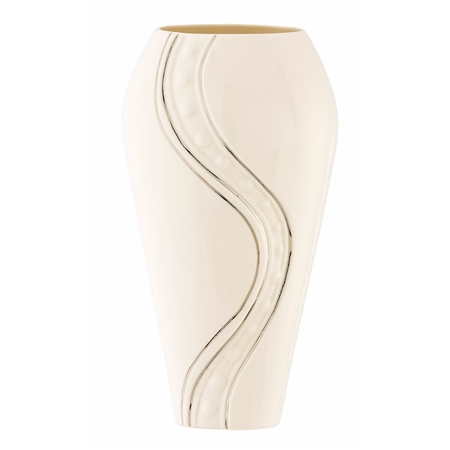 "Belleek Living Silver Ripple 12"" Vase  - Click to view a larger image"