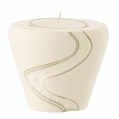 Belleek Living Silver Ripple Votive Tealight  - Click to view a larger image