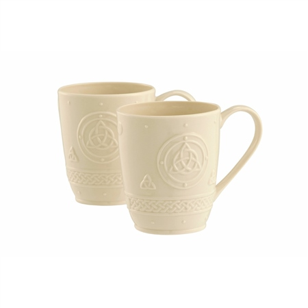 Belleek Classic CELTIC 10oz MUGS PAIR  - Click to view a larger image