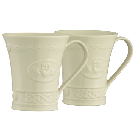 Belleek Classic Claddagh 10oz Mug Pair  - Click to view a larger image
