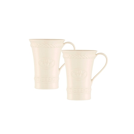 Belleek Classic CLADDAGH LATTE MUGS PAIR  - Click to view a larger image