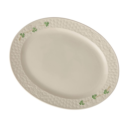 Belleek Classic SHAMROCK LARGE OVAL PLATTER  - Click to view a larger image