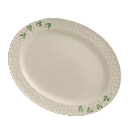 Belleek Classic SHAMROCK SMALL OVAL PLATTER  - Click to view a larger image