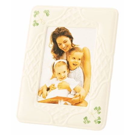 Belleek Classic Shamrock Trellis 5x7 Frame  - Click to view a larger image
