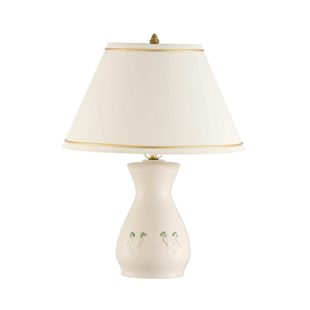 Belleek Classic Shamrock Lace Lamp and Shade   - Click to view a larger image