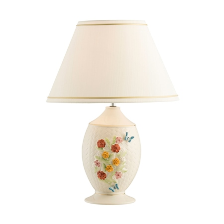 Belleek Classic Wickerweave Lamp and Shade - Painted  - Click to view a larger image