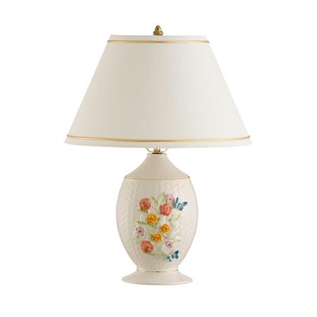 Belleek Classic Wickerweave Lamp and Shade  - Click to view a larger image