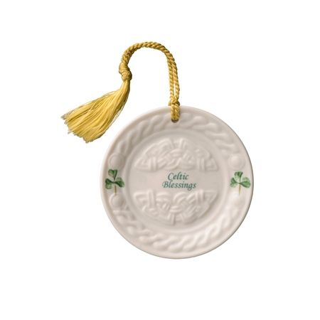 Belleek Classic Celtic Plate Hanging Ornament  - Click to view a larger image