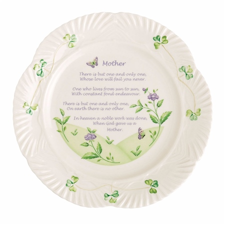Belleek Classic Harp Mothers Blessing Plate  - Click to view a larger image