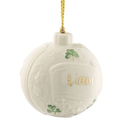 Belleek Classic Personalised Christmas Bauble  - Click to view a larger image