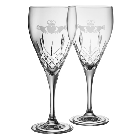 Galway Crystal Claddagh Red Wine Pair  - Click to view a larger image