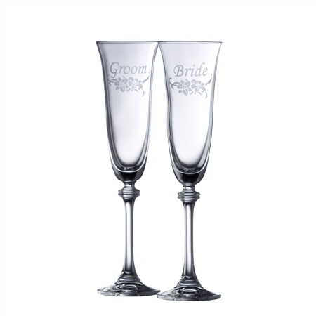Galway Crystal FLORAL BRIDE & GROOM FLUTE PAIR  - Click to view a larger image