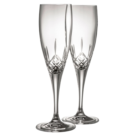 Galway Crystal Longford Flute Pair  - Click to view a larger image