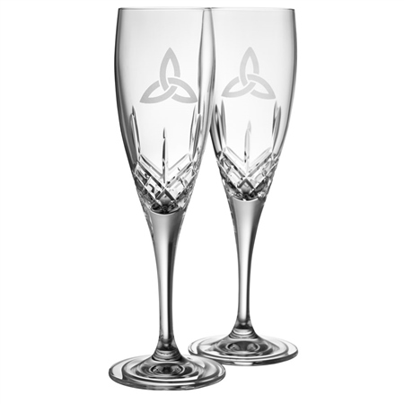 Galway Crystal TRINITY KNOT FLUTE PAIR  - Click to view a larger image