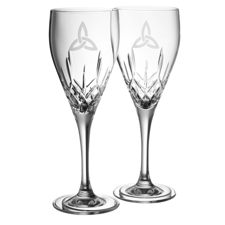 Galway Crystal TRINITY KNOT WINE PAIR  - Click to view a larger image