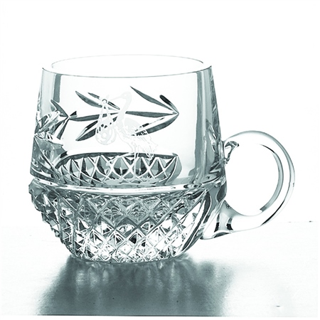 Galway Crystal STORK CHRISTENING MUG  - Click to view a larger image