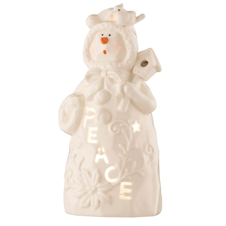 Belleek Living Peace Snowman - Votive  - Click to view a larger image