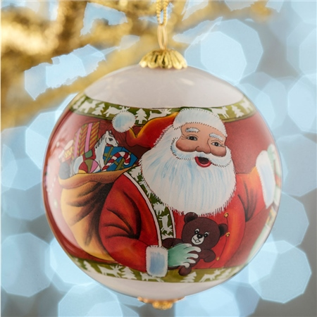 Belleek Living Santa and Stocking Glass Bauble  - Click to view a larger image