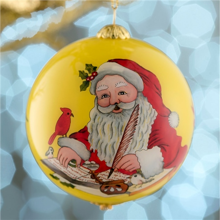 Belleek Living Santa's List Glass Bauble  - Click to view a larger image