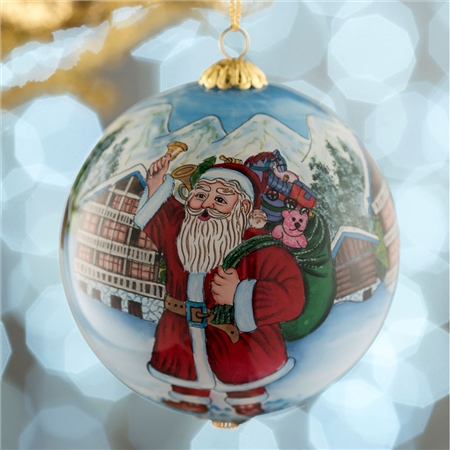 Belleek Living Santa's Workshop Glass Bauble  - Click to view a larger image