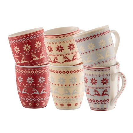 Aynsley Fairisle Mugs Set  - Click to view a larger image