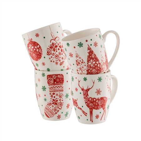 Aynsley Festive Fun Mugs Set  - Click to view a larger image