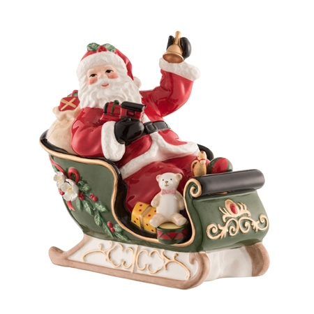 Aynsley Santa on Sleigh Musical Box  - Click to view a larger image