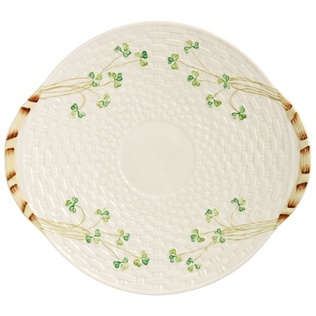 Belleek Classic Personalised Shamrock Bread Plate  - Click to view a larger image