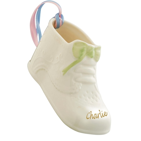 Belleek Classic Personalised Baby's First Christmas  - Click to view a larger image