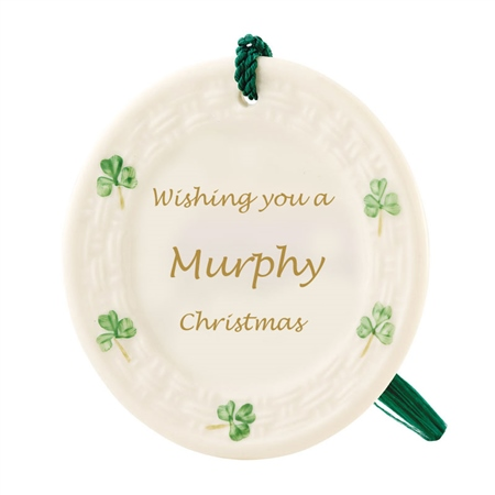 Belleek Classic Personalised Shamrock Ornament  - Click to view a larger image