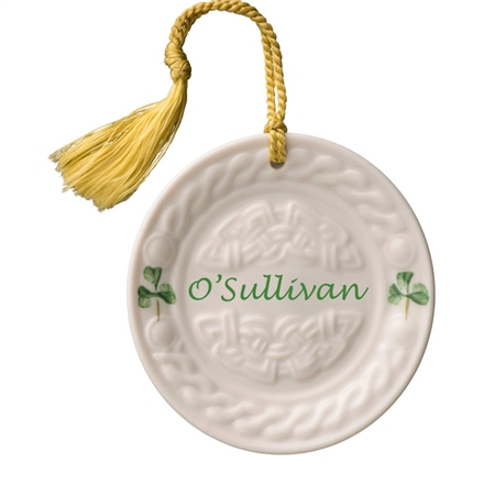 Belleek Classic Personalised Celtic Plate Hanging Ornament  - Click to view a larger image