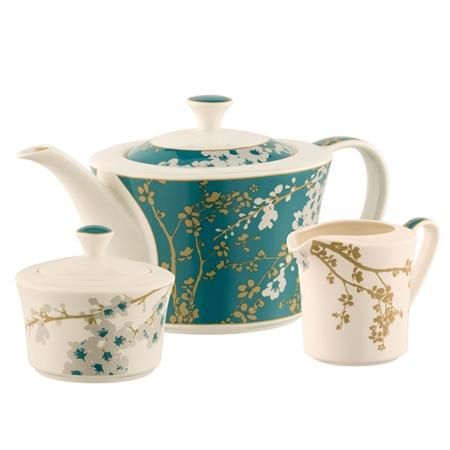 Belleek Living Bellevue Teapot Sugar & Cream Set  - Click to view a larger image