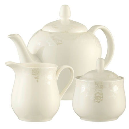 Belleek Living Evermore Teapot, Sugar & Cream Set  - Click to view a larger image