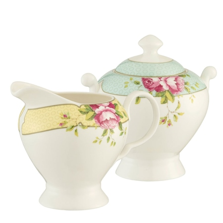 Aynsley Archive Rose Sugar & Cream Set  - Click to view a larger image