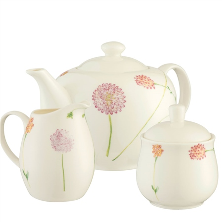 Aynsley Bloom Teapot, Sugar & Cream Set  - Click to view a larger image