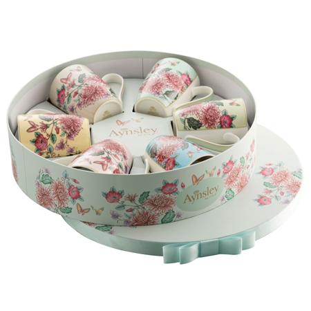 Aynsley Butterfly Garden 6 Mugs in Hat Box  - Click to view a larger image