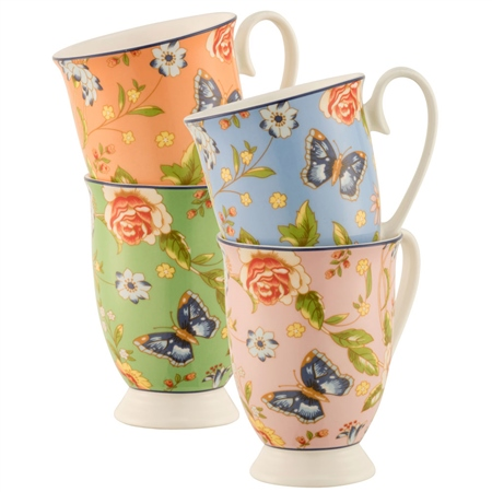 Aynsley Cottage Garden Footed Mugs Set of 4  - Click to view a larger image