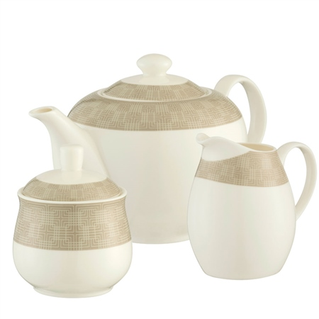 Aynsley Merino Teapot, Sugar & Cream Set  - Click to view a larger image