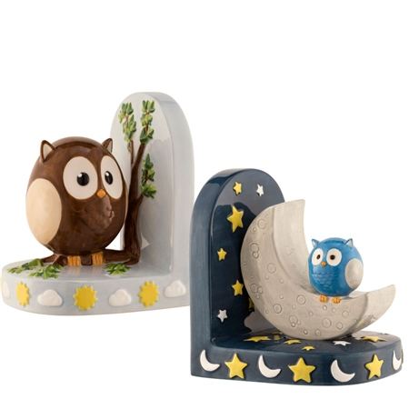 Aynsley Day & Night Owl Bookends  - Click to view a larger image